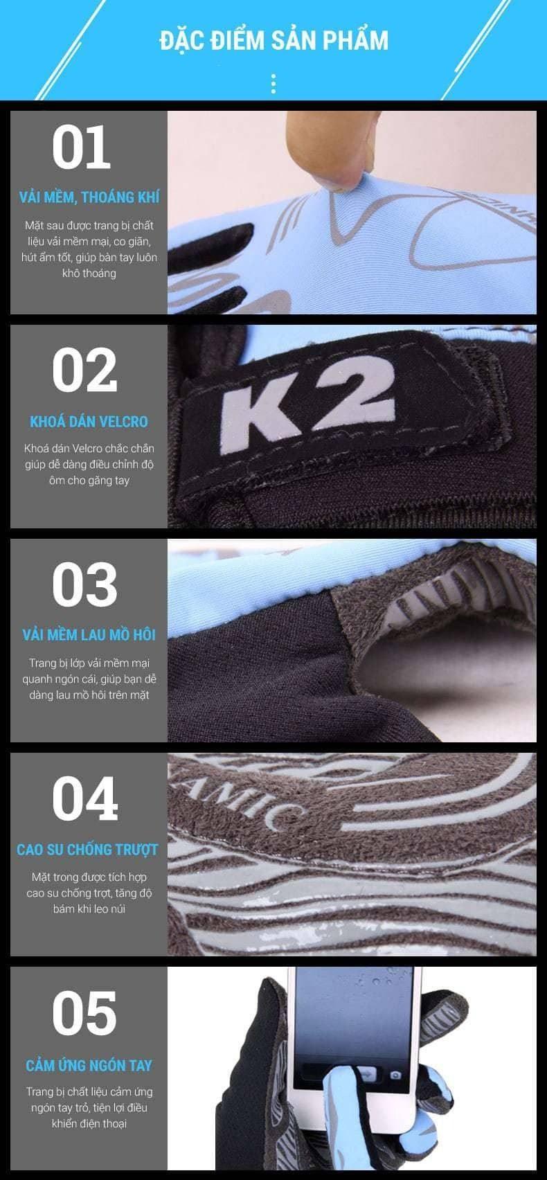 Găng tay leo núi tích hợp cảm ứng ngón tay Koraman K2
