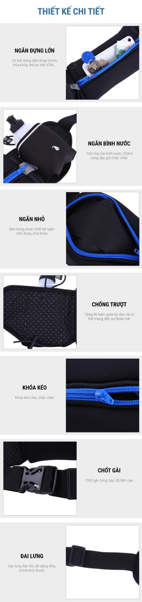 Túi đeo hông chạy bộ B009Plus (kèm 2 bình nước 250ml)