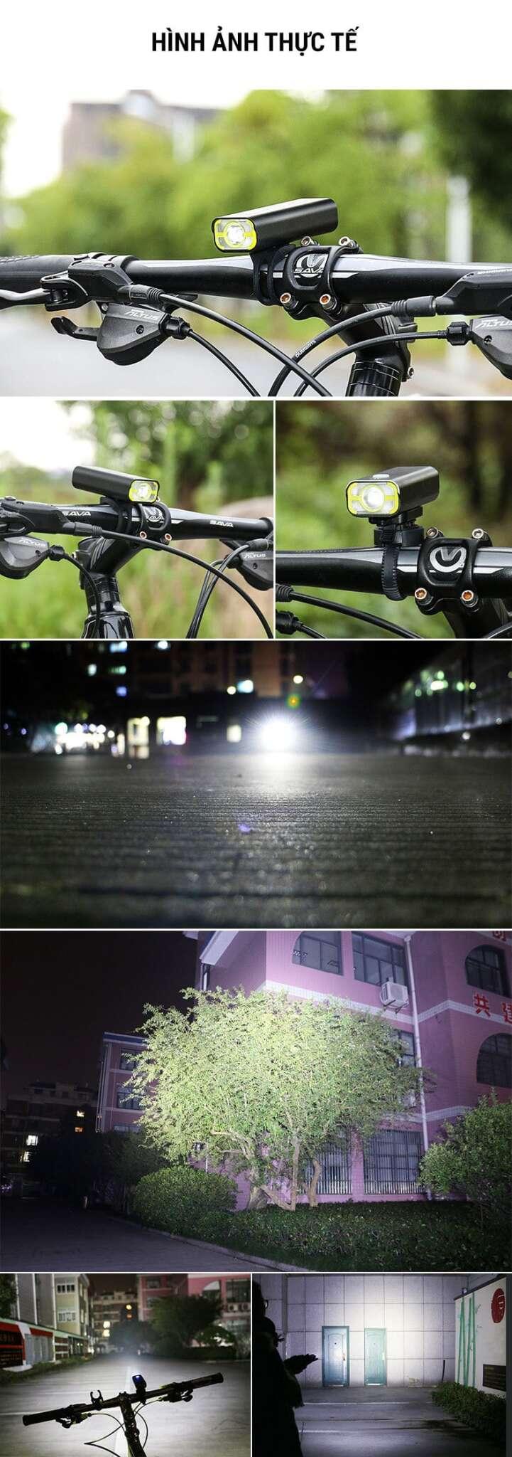 Đèn LED xe đạp trước pin sạc, chống nước Wheel Up V9C-400