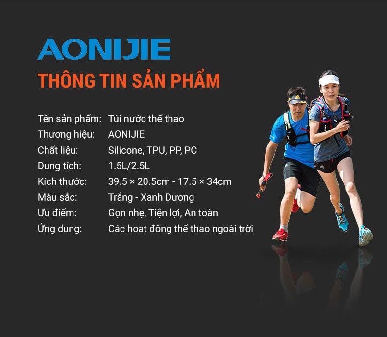 Túi nước thể thao Aonijie phiên bản mới (1.5 - 2.5 Lít)