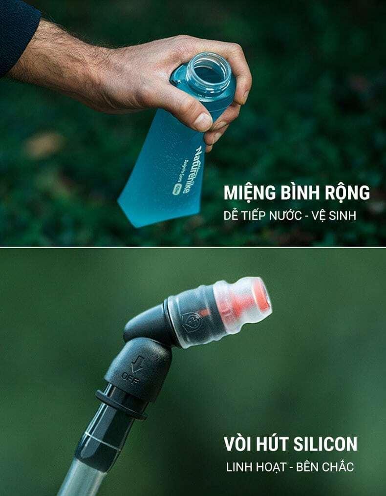 Bình nước dẻo TPU gấp gọn kèm vòi hút Naturehike (420ml)