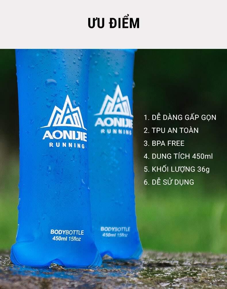 Bình nước dẻo TPU soft flask Aonijie (450ml)