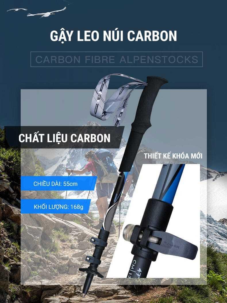 Gậy leo núi carbon chống sốc telescope Pioneer Composite (PL-11)