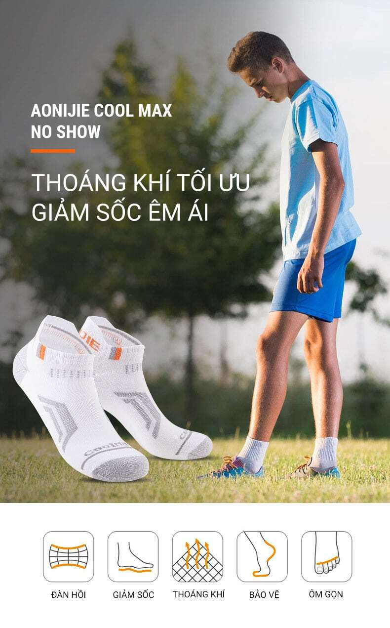 Vớ thể thao Aonijie CoolMax No Show Tab (combo 3 đôi)
