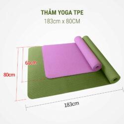 Thảm Yoga TPE khổ lớn 183cm x 80cm (dày 8mm)